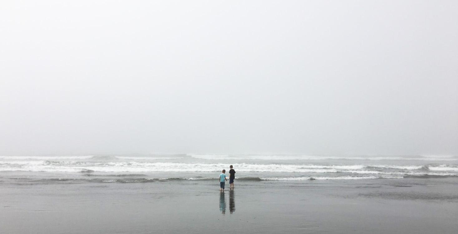 boys at ocean